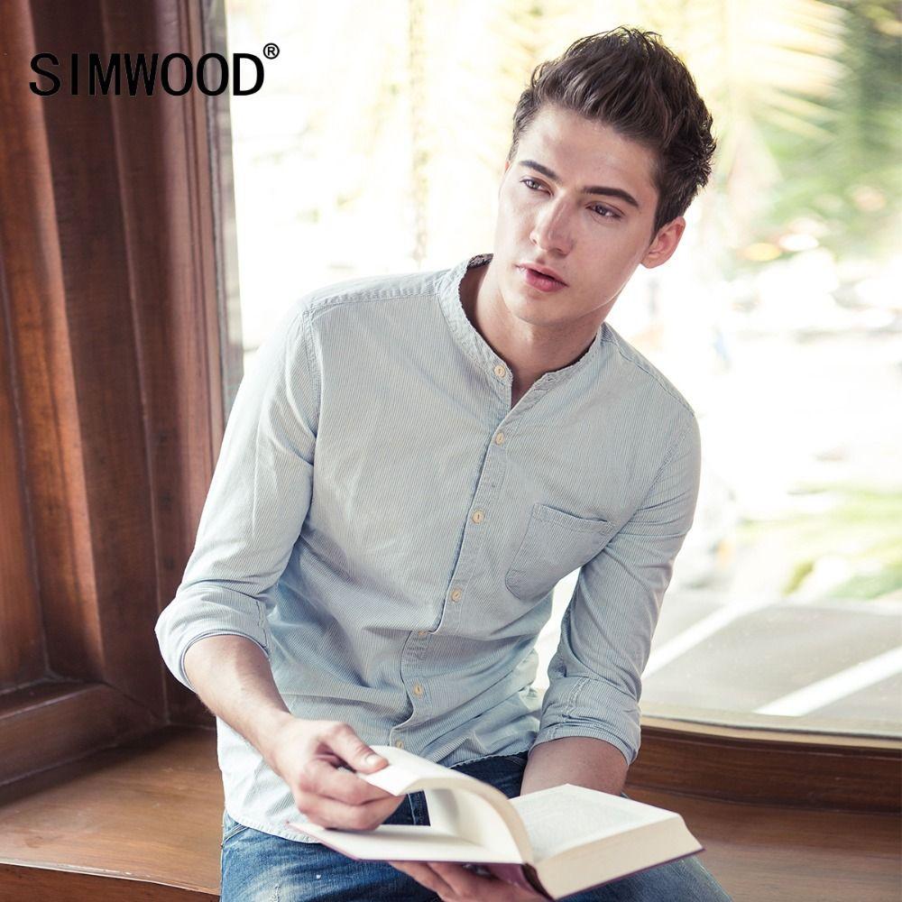2018 SIMWOOD Brand Men Casual Shirts Spring Spring Long Sleeve Shirt Fashion Slim Cotton Striped High Quality CS135