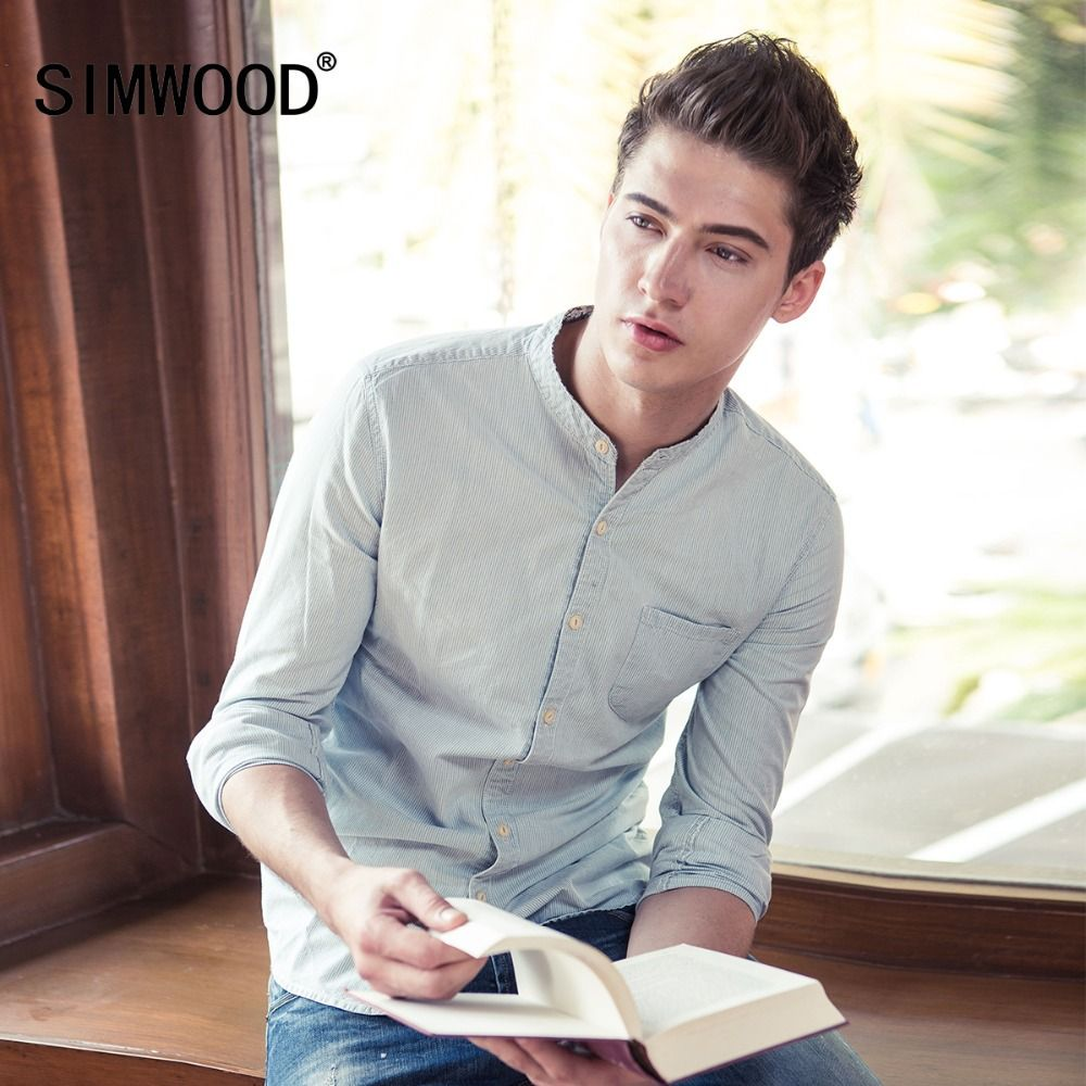 2018 SIMWOOD Brand Men Casual Shirts Spring Spring Long Sleeve Shirt Fashion Slim Cotton Striped High Quality CS135