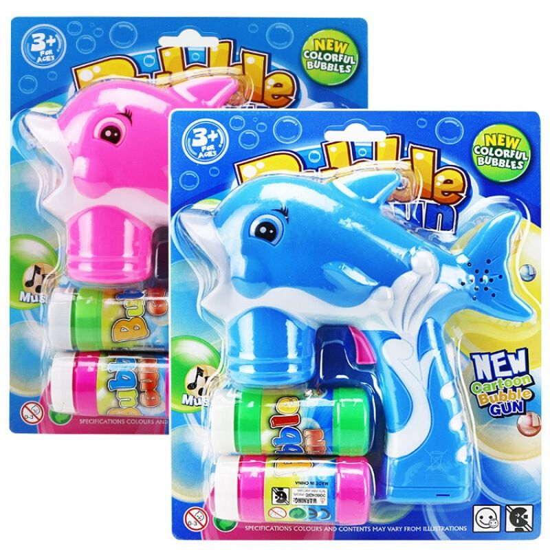 2018 New Flashing Light Up High Quality Cute Dolphin Bubble Maker Box Toys For Children Kids Outdoor Funny Playing Toy