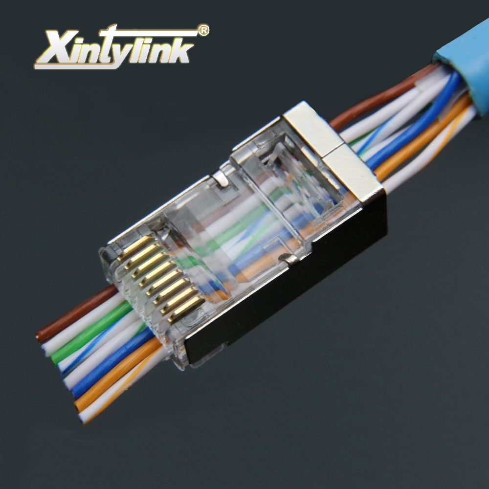xintylink EZ rj45 plug ethernet cable connector cat6 cat5e cat5 network stp 8P8C gold plated shielded modular terminals 50pcs