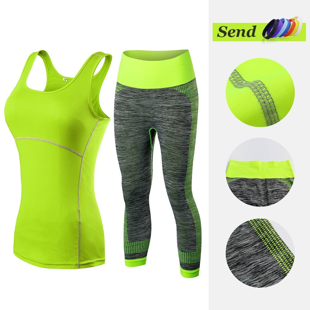 Fitness Clothing <font><b>Stripe</b></font> Sleeveless Tennis Yoga Vest+Pants Running Tight Jogging Workout Clothes For Women Tracksuit Sport Suit