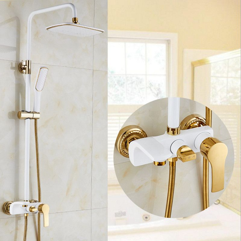 Top quality brass gold shower set with fashion black gold shower set and white gold shower faucet with ABS white gold shower