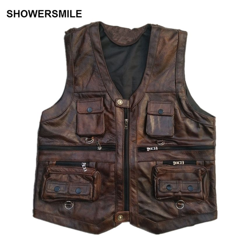 SHOWERSMILE Brown Vest Mens Leather Waistcoat Real Leather Motorcycle Vest With Many Pockets Photography Vest Sleeveless Jacket