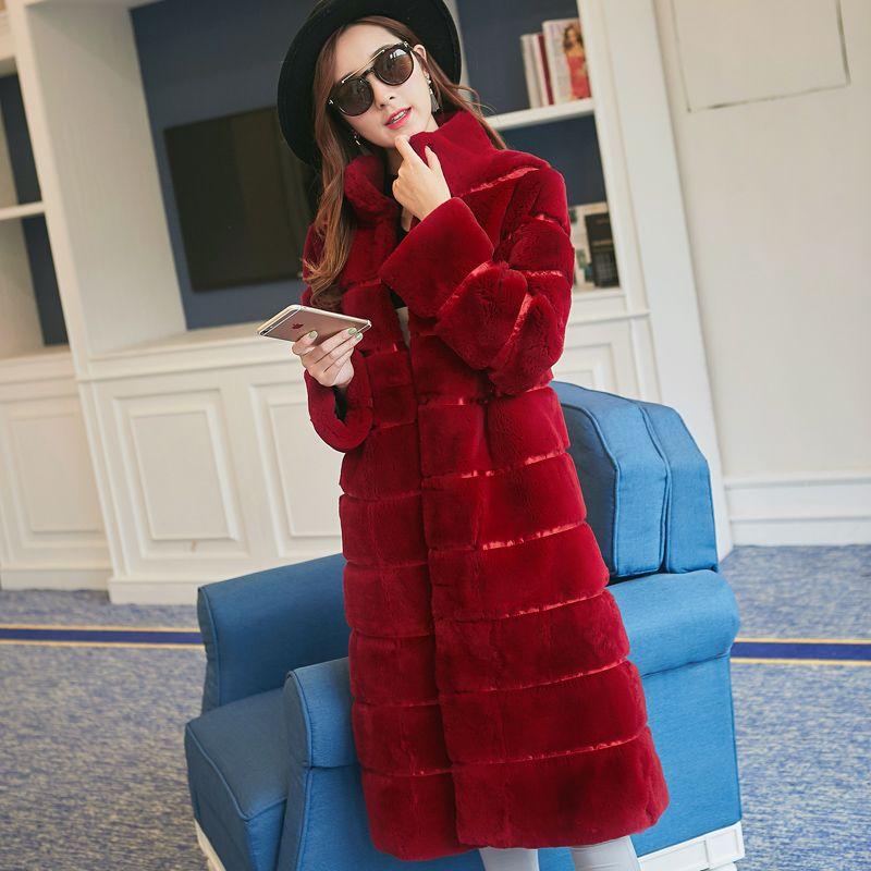 Fashion striped natural rex rabbit fur coat outerwear women stand collar long design warm fur overcoat 2017 autumn winter g8d25