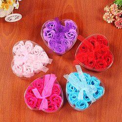 Surprise 9Pcs Heart Scented Bath Body Petal Rose Flower Soap Wedding Decoration Creative Valentine's Day gift 20# dropship