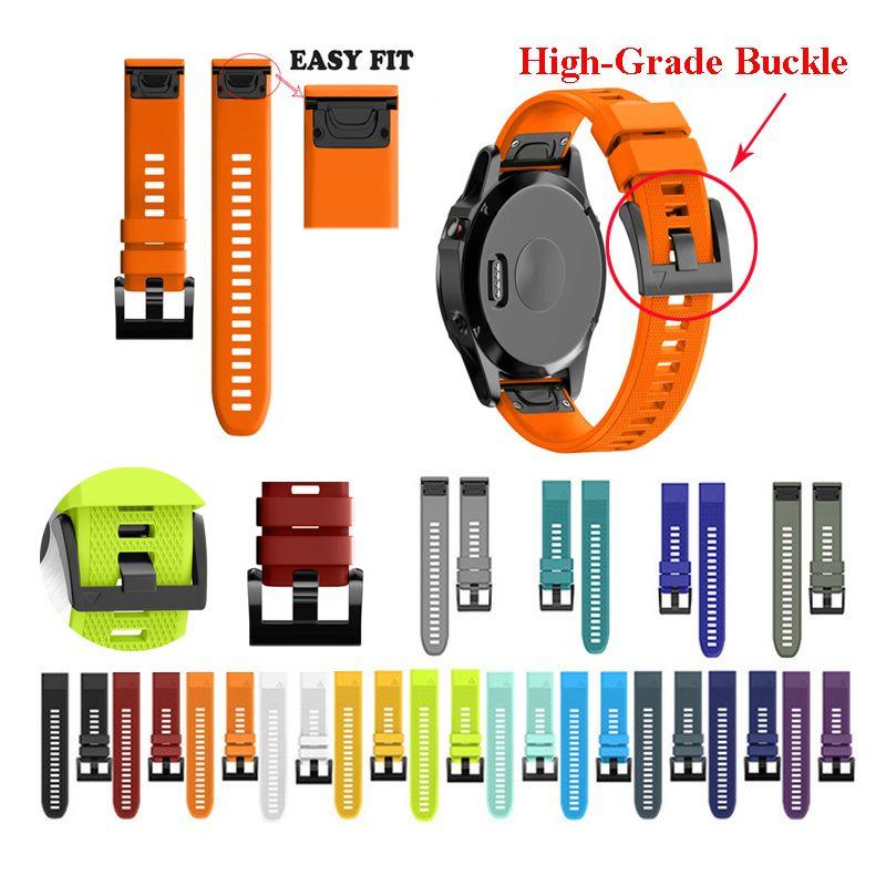 JKER 26 22 20 MM bracelet de montre pour Garmin Fenix 5X5 5 S Plus 3 3HR D2 S60 montre à dégagement rapide Silicone Easyfit bracelet de poignet