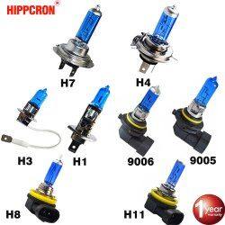 Hippcron Halogen Bulb H7 H4 H3 H1 H8 H9 H11 9005 HB3 9006 HB4 Car Headlight Lamp 12V 55W 60/55W 5000K Super White Quartz Glass