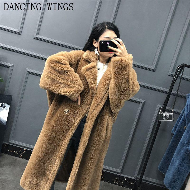 Winter Real Fur Coat Teddy Bear Brown Fleece Jackets Women's Fashion Suit Collar Alpaca Thick Overcoat Warm Long Parka