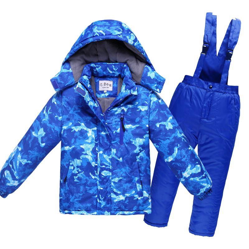 От 4 до 12 лет подростковые зимние детские Водонепроницаемый лыжный костюм Детская Куртка парка зимний комбинезон Обувь для девочек Верхняя ...