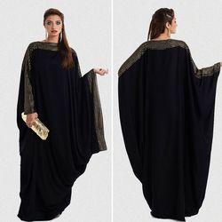 Ukuran S ~ 6XL Kualitas Baru Arab Elegan Longgar Abaya Kaftan Islam Muslim Gaun Pakaian Desain WANITA HITAM dubai Abaya