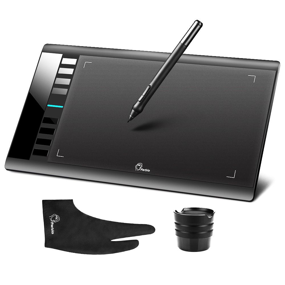 Parblo A610 Digital Tablet Graphics Drawing Tablet Pad w/Pen 2048 Level Digital Pen + Anti-fouling Glove as Gift