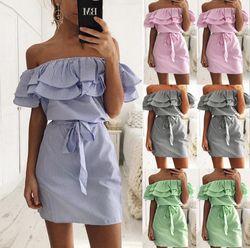 Encolure Bretelles Rayé Ruches Robe Femmes 2018 D'été Sundresses Plage Casual Chemise Courte Mini Parti Robes Robe Femme