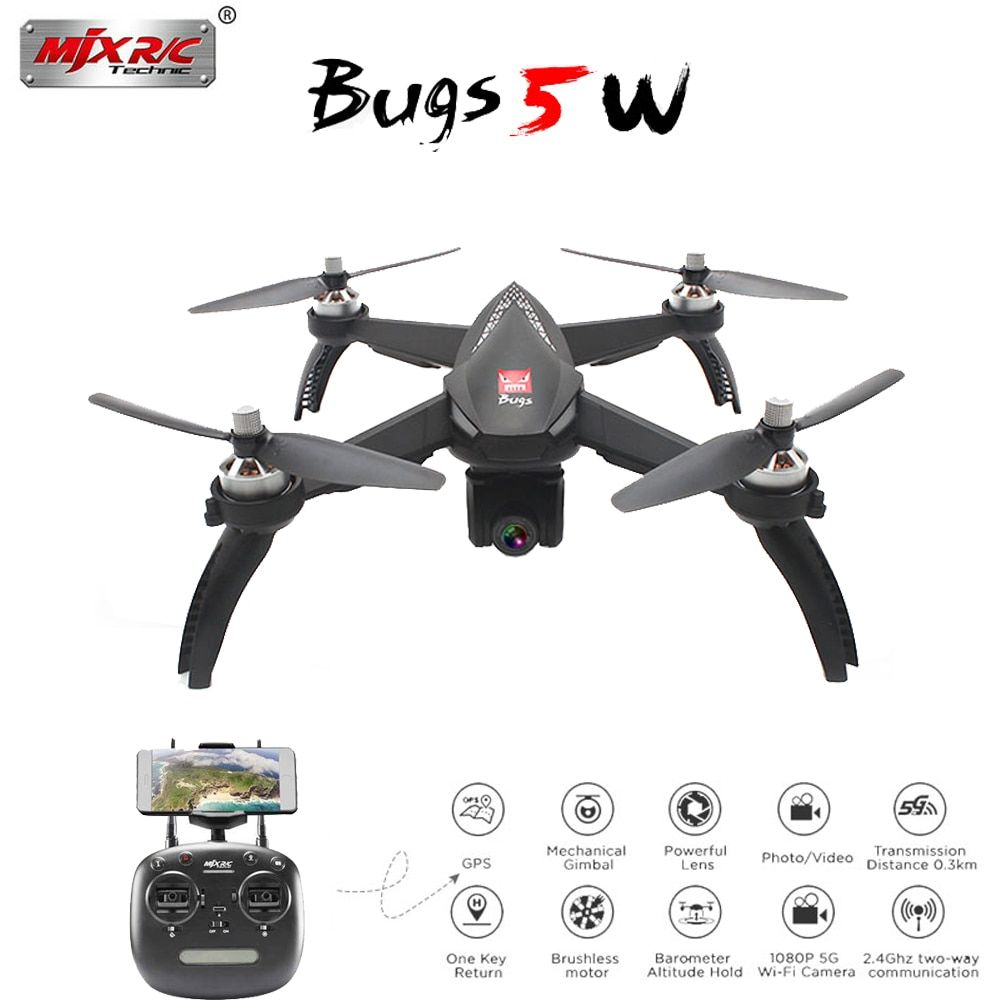 MJX Bugs 5W B5W Brushless motor Drone with 1080P WiFi HD Camera with 2.4Ghz GPS and One Key return RC Dron VS Bugs 3 Helicopter