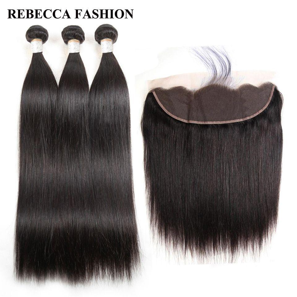 Rebecca Salon Hair Lace Frontal Closure With Bundles Remy Brazilian Straight Human Hair Weave 3 Bundles 13x4 Lace Frontal
