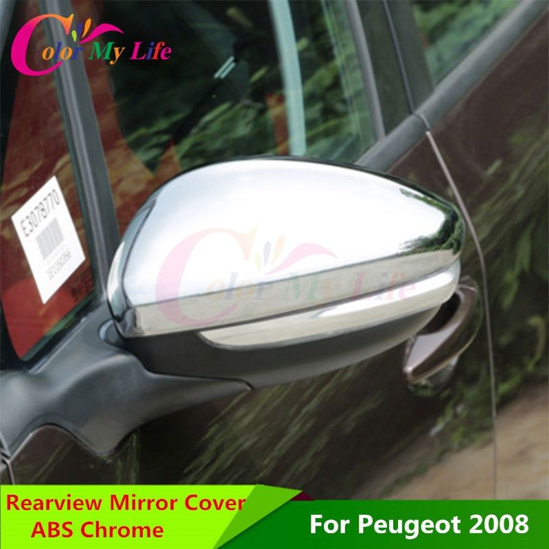 Color My Life RearView Mirror Rear-view Backup Decorative Chrome Trim Cover Sticker for Peugeot 2008 208 2014 - 2016 Accessories