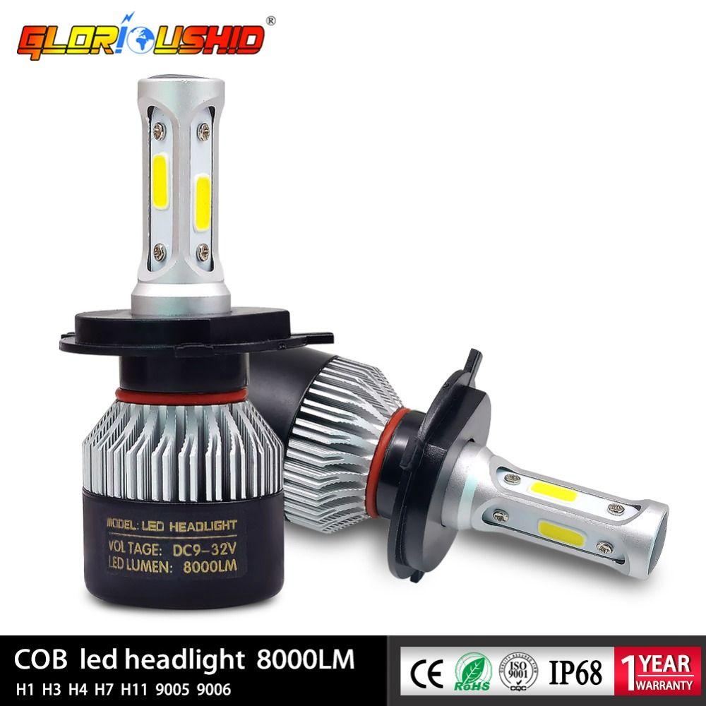 2 pièces H7 Led H4 H1 H3 H11 H8 H9 9005 HB3 9006 HB4 Automatique De Phare de Voiture Avant antibrouillard Ampoule Lampe Automobile 72 W 8000lm 6500 k