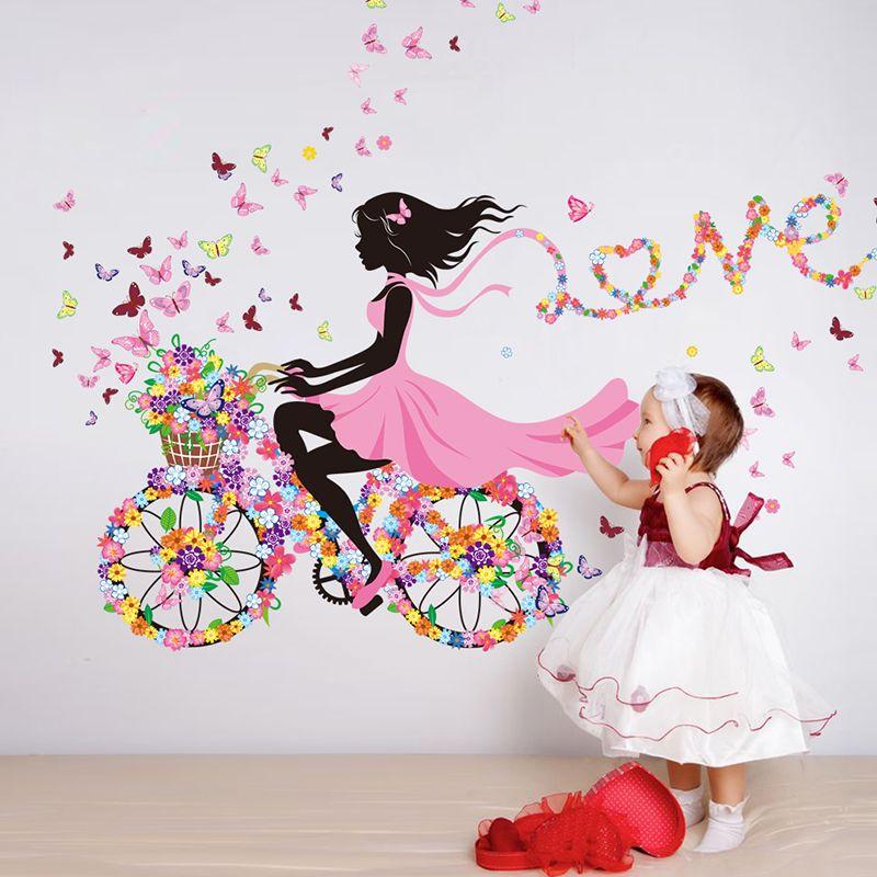 [SHIJUEHEZI] fille Wall Sticker Fleur Multi Couleur Vélo Amour Mur Art pour Salon Décor À La Maison D'enfants de Fille Chambre Mur Decal