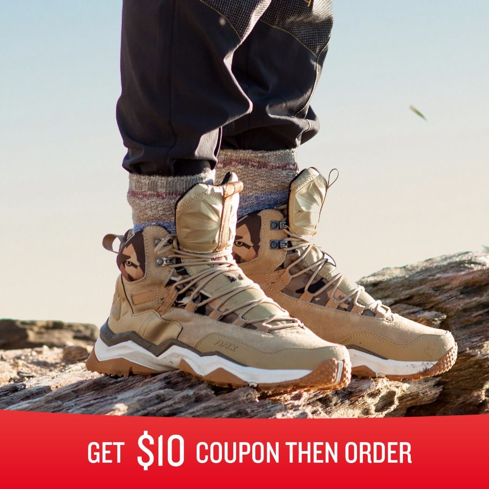 RAX Men Hiking Shoes Mid-top Waterproof Leather Outdoor Trekking Boots Trail <font><b>Camping</b></font> Climbing Outventure Hunting Sneakers Women