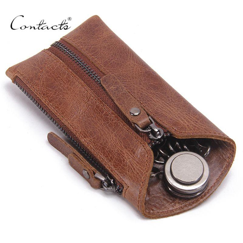 CONTACT'S Vintage porte-clé en cuir véritable femmes porte-clé couvre fermeture éclair porte-clés sac hommes porte-clé femme clés organisateur