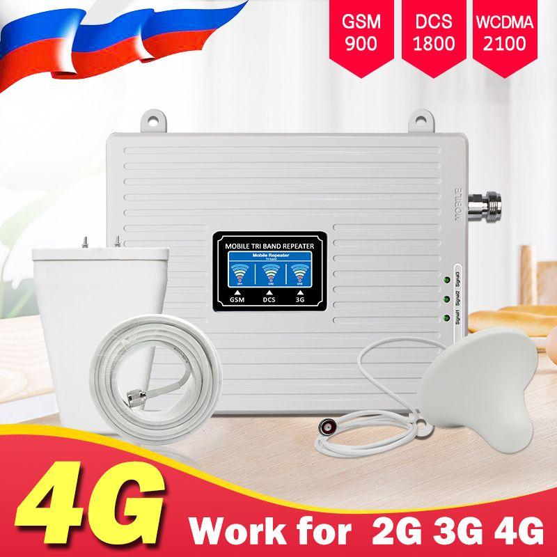 Tri Band Repeater 4G 3G 2G Zellulären Signal Verstärker GSM 900 DCS LTE 1800 WCDMA 2100 mhz handy Signal Booster Repeater Antenne