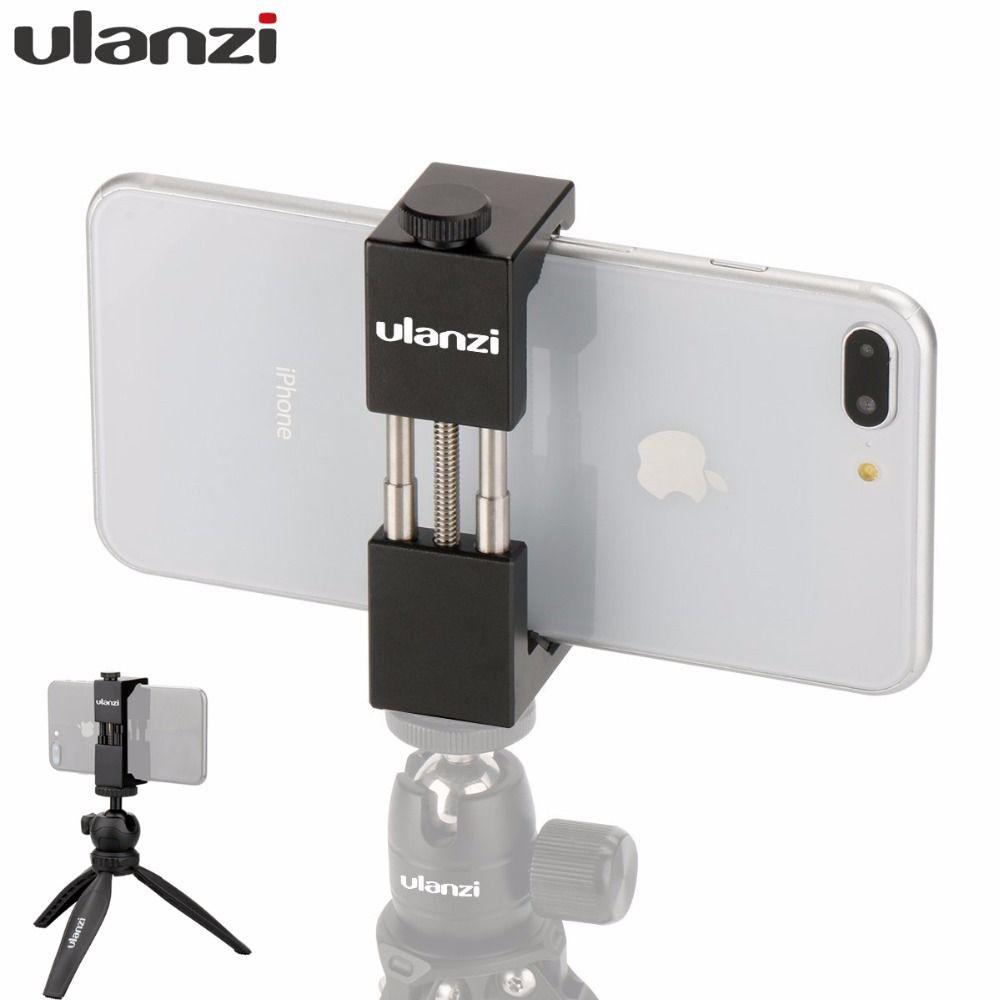Ulanzi ST-01 téléphone trépied montage trépied Clipper support adaptateur métal Aluminium trépied pince pour iPhone X Huawei Xiaomi téléphone portable