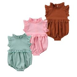 Newborn Baby Girls Sleeveless Ruffles Romper Jumpsuit Clothes Outfits Summer