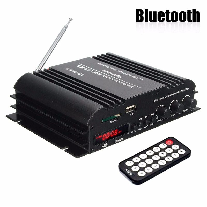 KROAK 4 Channel Audio Amplifier HiFi Stereo Wireless Bluetooth Amplifier Audio MP3 Player Remote Control For Car Home
