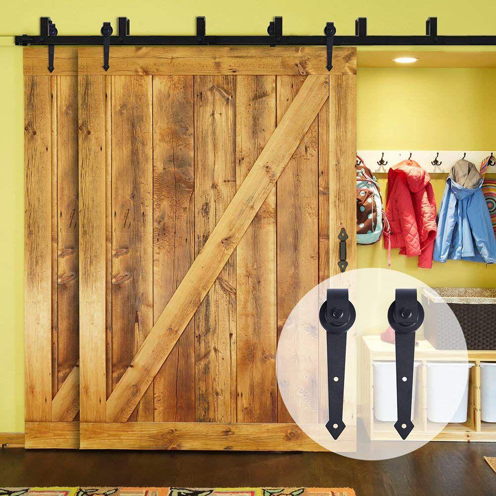 LWZH Rustic Wood Door Bypass Sliding Barn Door Hardware Kit Black Steel Arrow Shaped Track Rollers for Interior Double Door