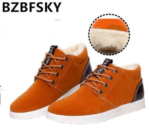 Bzbfsky ботильоны для мужчин сапоги водонепроницаемый 2017 Короткие обувь с плюшевой подкладкой обувь дешевые зимние сапоги на толстой подошве ...