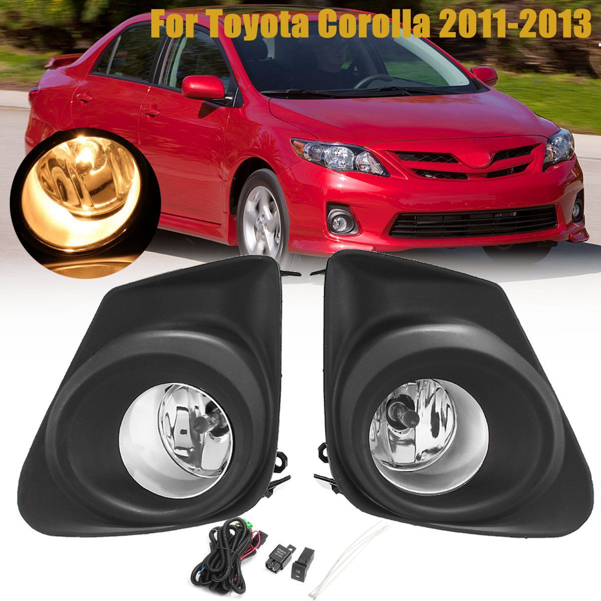 2Pcs Car Front Bumper Fog Lights Lamp With H11 Bulb Switch + 2pcs Grille Cover Yellow Lamp For Toyota Corolla 2011 2012 2013