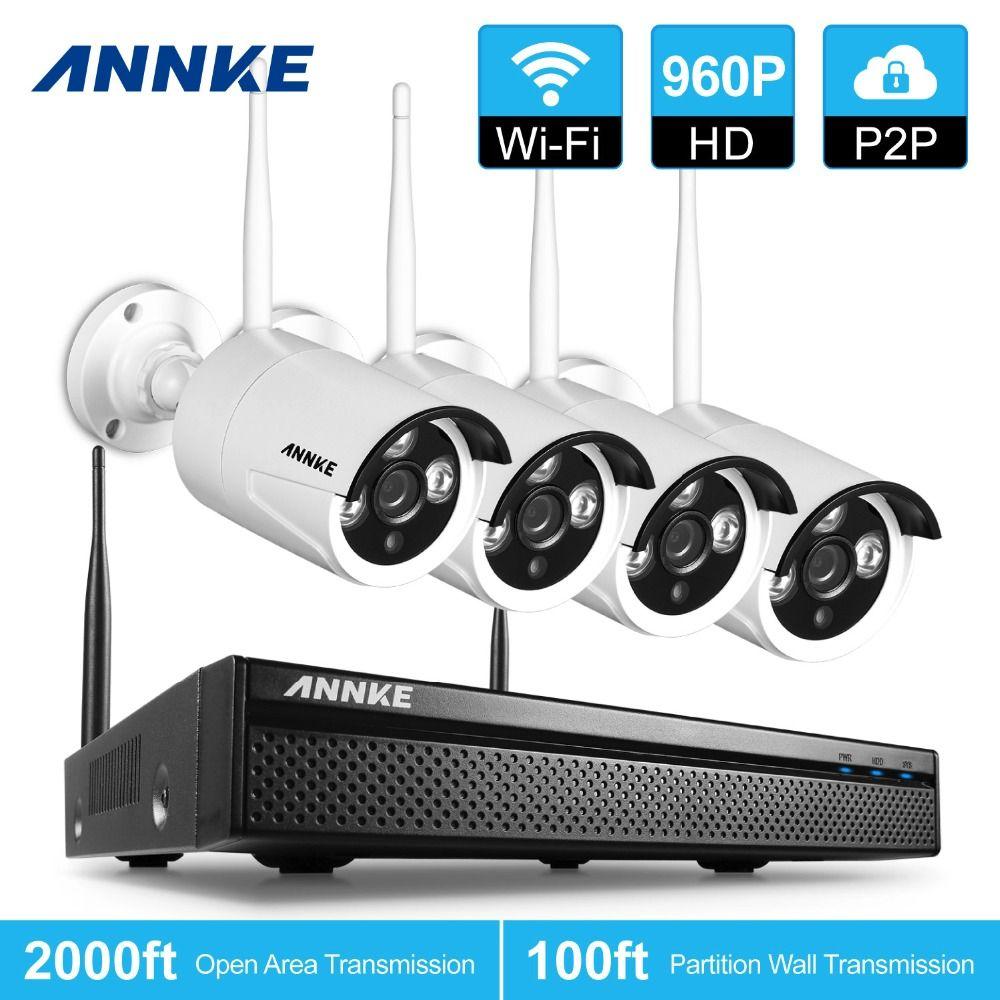 ANNKE 4CH CCTV Système Sans Fil 960 P NVR 4 PCS 1.3MP IR Extérieure P2P Wifi IP CCTV Caméra de Sécurité Système Kit de Surveillance