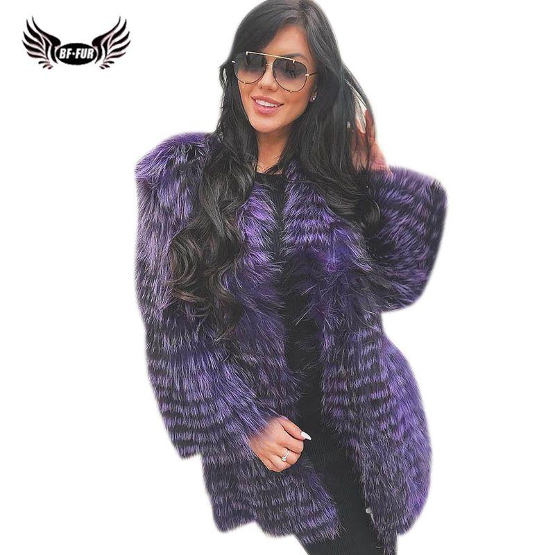 BFFUR Silver Fox Natural Fur Casual Women Clothes 2018 Russian Winter New Coats Fox Fur Coat 90 cm Long Real Fur Jackets