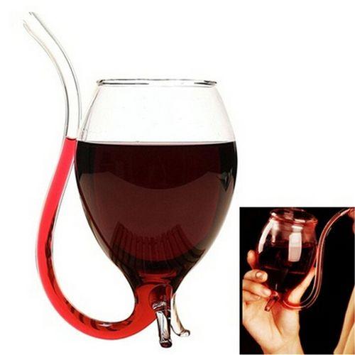 Chaude 300 ml Bière Fournitures de Bar Bière verre à Vin Rouge En Verre W/Tube À Boire Paille Nouveauté Mode ZX042