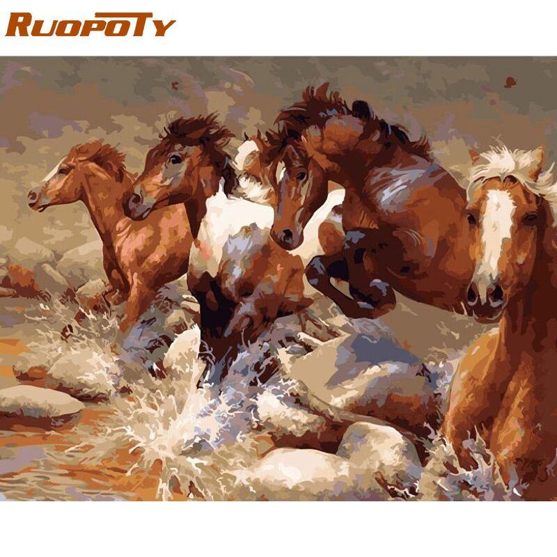 Cadre RUOPOTY course cheval animaux peinture à la main par numéros Kits coloriage par numéros peinture acrylique sur toile pour les Arts de la décoration intérieure