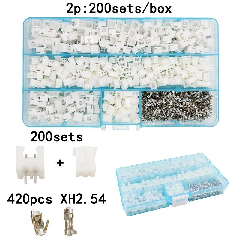 200sets/box suit 2p pin 2.54mm XH2.54 connector plug + straight needle + terminal socket Header wire Adaptor connectors