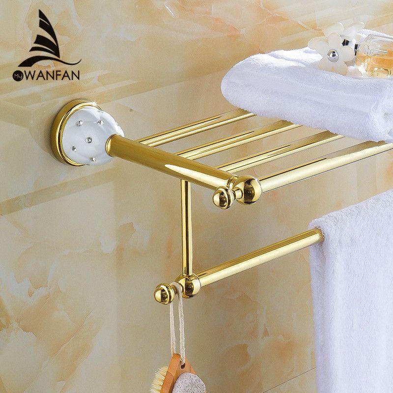 Badezimmer Regale 2 Tier Massivem Messing Gold Handtuchhalter Bad Regal handtuch Halter Kleiderbügel Wand Montiert Luxury Home Deco Handtuchhalter 5212