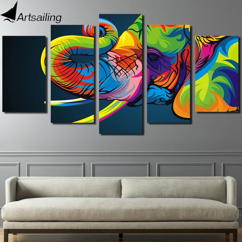 HD Imprimé 5 pièce toile art Coloré éléphant Peinture mur décorations salon Livraison gratuite/ny-2650