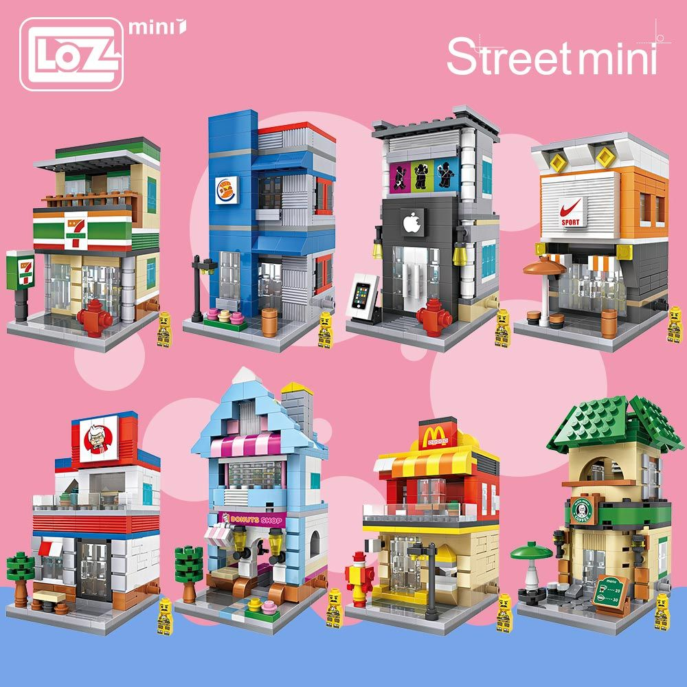 LOZ Blocs Ville Mini Rue Briques Ensemble Architecture Blocs de Construction Jouets Éducatifs Pour Enfants Forge World Maison 1601-1608