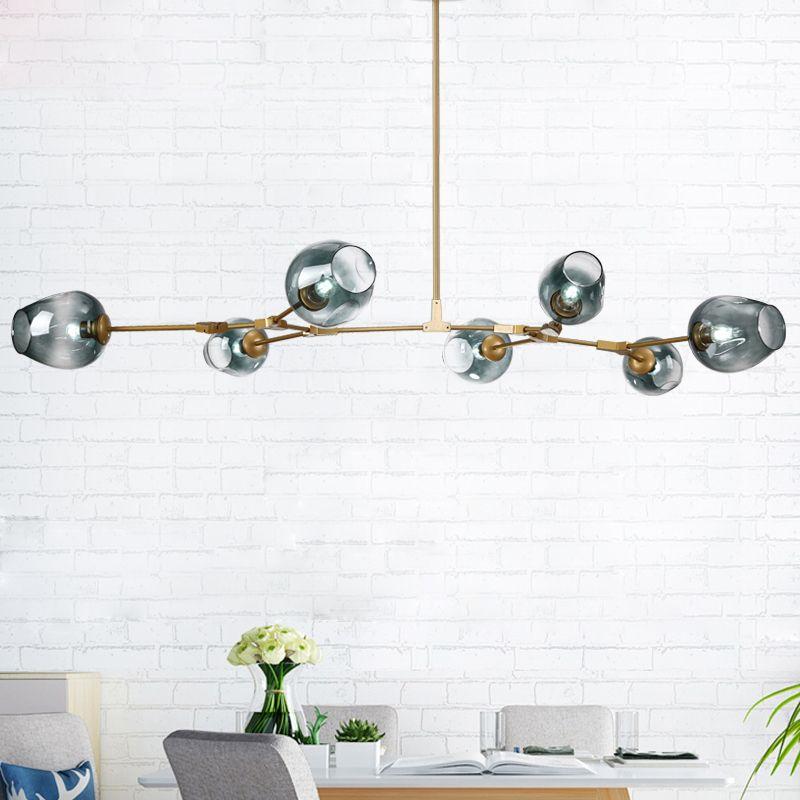 NEW loft industrial Beanstalk creative minimalist Nordic Iron Art glass ball pendant light living room restaurant pendant lamp