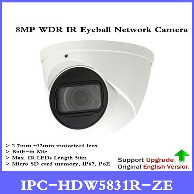 DH New Original English version without logo IPC-HDW5831R-ZE 8MP WDR IR Eyeball Network Camera POE CCTV Built-in Mic IP67