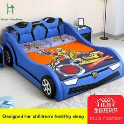luois fashioChildren's Car Creative Bed 1.2 Meters Single Boy and Girl Cartoon Leather  1.5m with Guardrail Small Wooden