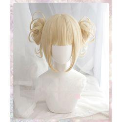 Mein Boku keine Hero Wissenschaft Akademia Himiko Toga Kurze Licht Blonde Pferdeschwänzen Hitze Beständig Cosplay Kostüm Perücke + Kappe