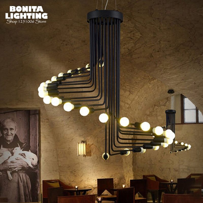 Villa Stairs vintage pendant lights Industry Wind Spiral pendant lights for high ceiling Spider led hanging lamp Iron