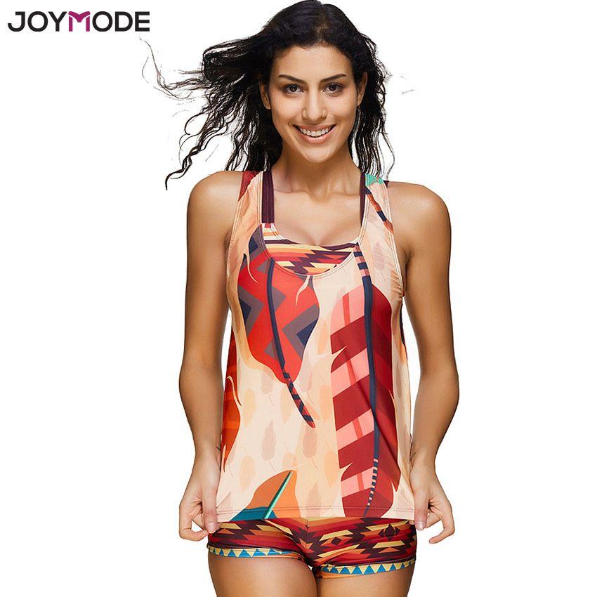 JOYMODE Women's 3 Pieces Athletic Swimwear Sports Swimsuit Set with Boyshort Splice Tankini Plus Size Bathing Suits