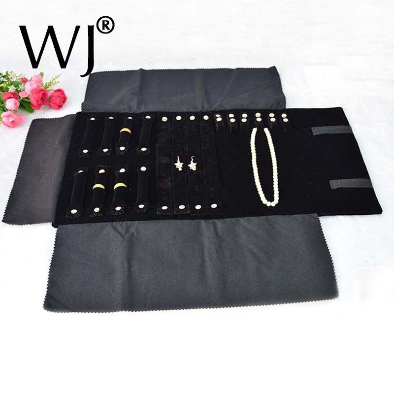 Présentoir de bijoux en velours noir Portable rouleaux sac organisateur de voyage pliable pour boucles d'oreilles anneau chaîne pendentif collier stockage
