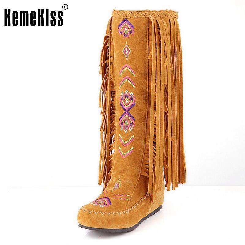 KemeKiss Mode Chinois Nation Style Troupeau En Cuir Femmes Fringe Plat Talons de Longues Bottes Femme Gland Genou Haute Bottes Taille 34-43