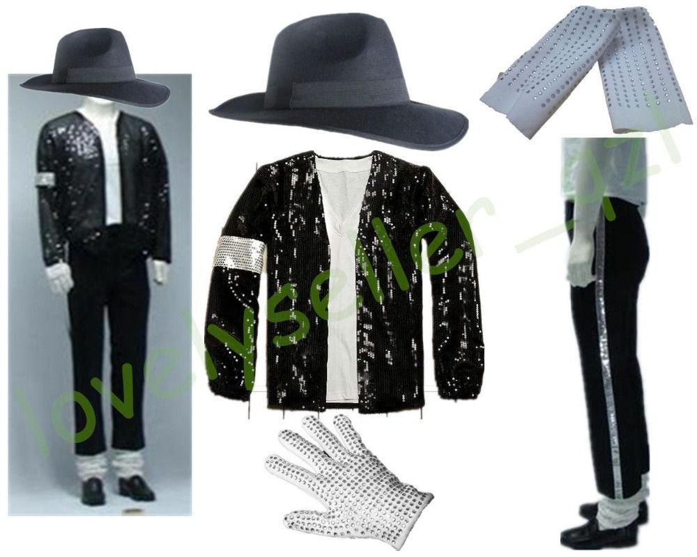 MJ Michael Jackson Billie Jean Anzüge Pailletten Jacke + Pants + Hat + Handschuh + Socken Kinder Erwachsene Anzeigen Schwarz pailletten Pacthwork 4XS-4XL
