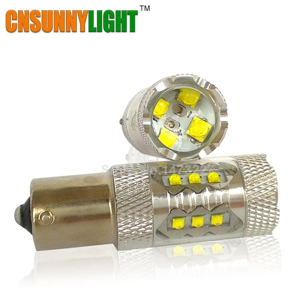 CNSUNNYLIGHT 1156/BA15S/P21W P21/5 watt PY21W S25 Auto Led Licht 80 watt Bremse Schwanz Drehen signal Licht Birne 12 v 24 v Weiß 6000 karat