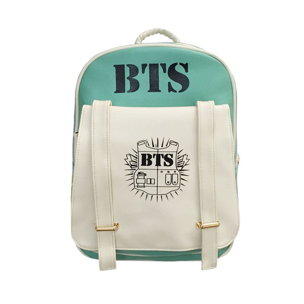 2018 New Korean KPOP Bangtan BTS PU Backpack Mochila Bag Preppy Style Student Girls Schoolbag Women Backpacks for Teenage