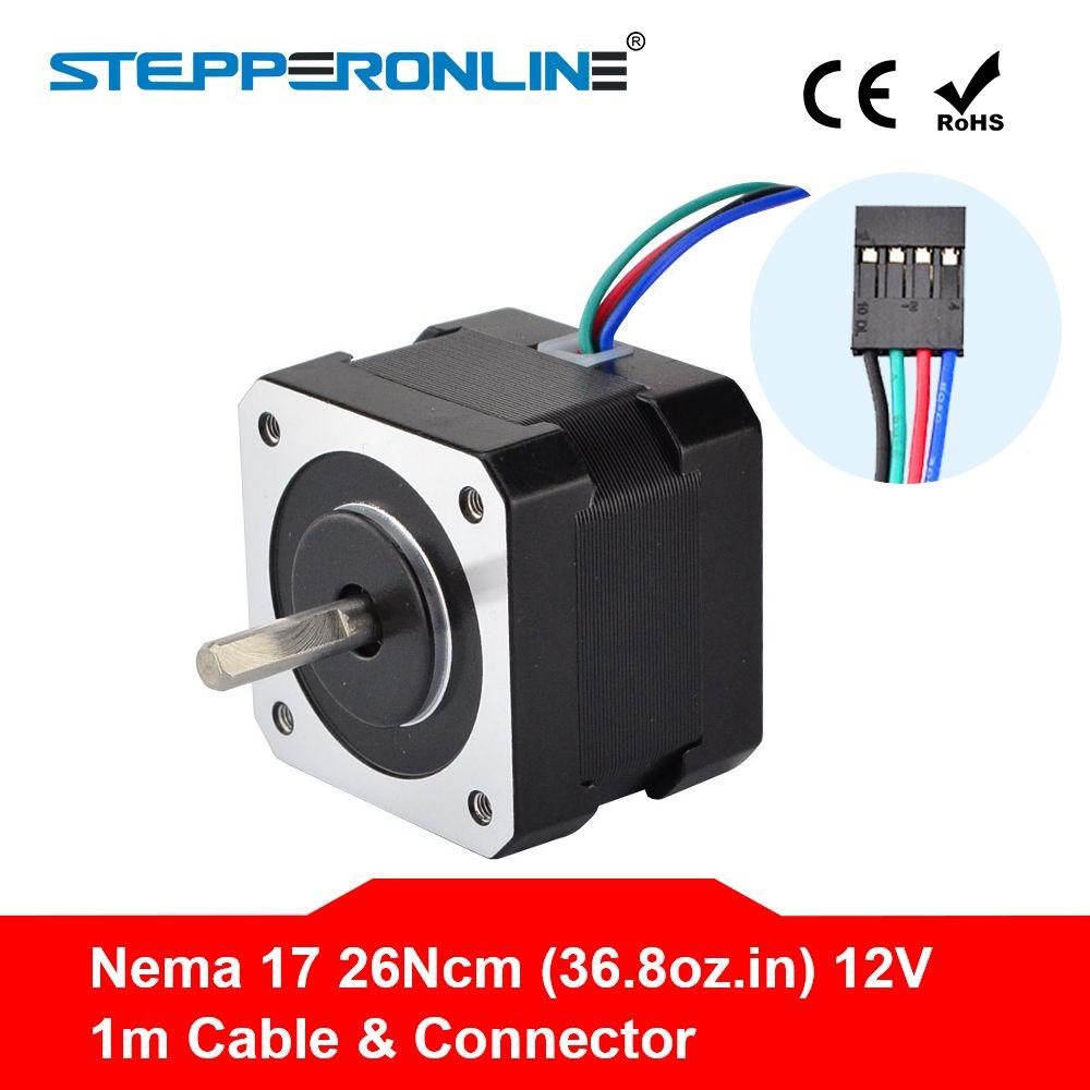Free Ship! Nema 17 Stepper Motor 34mm 26Ncm(36.8oz.in) 0.4A 12V Nema17 Step Motor 42BYGH 4-lead CNC Reprap 3D Printer